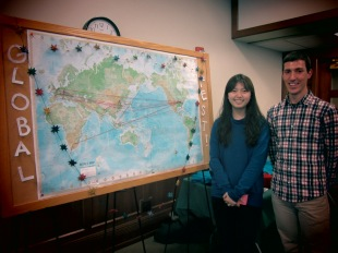 SPEA students standing with our Global Fest Giant Map! We asked all who attended Global Fest to mark where they are from and 2-3 places they have been, then to connect the two with string. The goal was to show SPEA students' global reach in an interactive, creative visual representation.