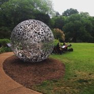 """Self Portrait"" by Plensa. Musicians in the gardens for the Members Preview."